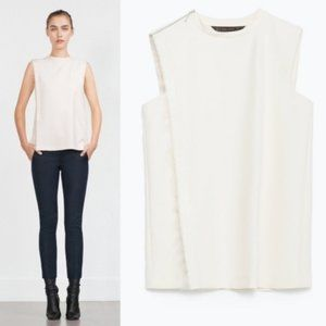 Zara Frayed Side Ribbon Zipper Shoulder Tailored